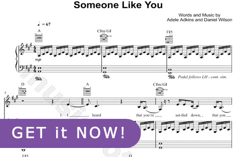 Adele Someone Like You Sheet Music, learn to play piano