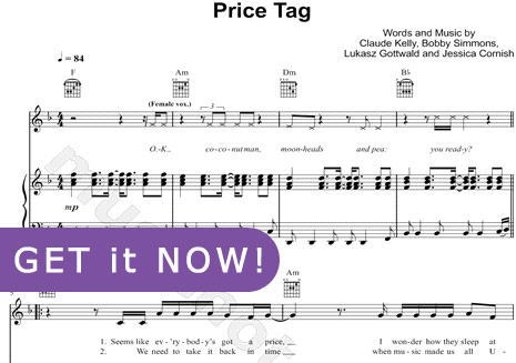 Jessie J, Price Tag Sheet Music, piano notation, download, online, learn to play