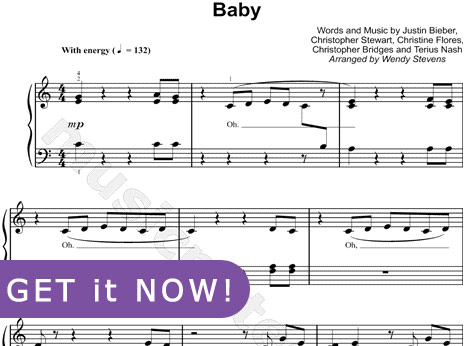 Justin Bieber Baby Music Video on Justin Bieber Baby Sheet Music Piano Notation Notes Chords Download