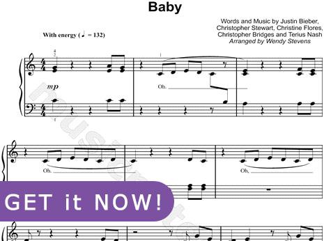 Justin Bieber, Baby Sheet Music, piano notation, notes, chords, download