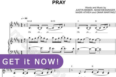 Justin Bieber, Pray Sheet Music, piano notation, chords, score