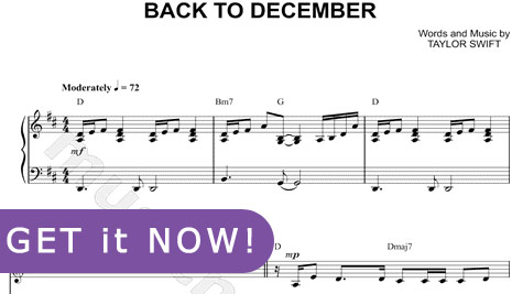 Taylor Swift, Back To December Sheet Music, piano notation, score, learn to play, lessons, tutorial, school