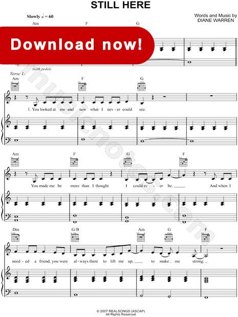 Jennifer Hudson, Still Here Sheet Music, download, online, notation, tabs, score, chords