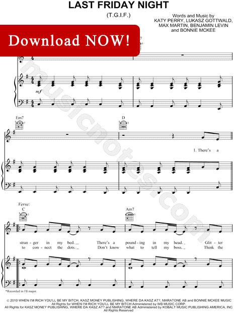 katy perry, last friday night sheet music, TGIF, notation