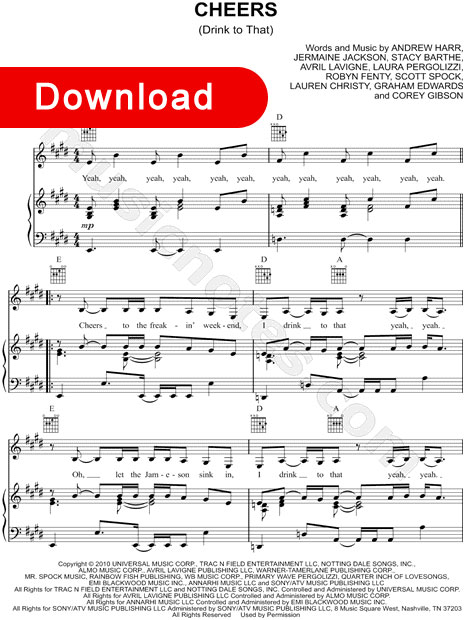 Rihanna Cheers (Drink to That) Sheet Music, piano notes
