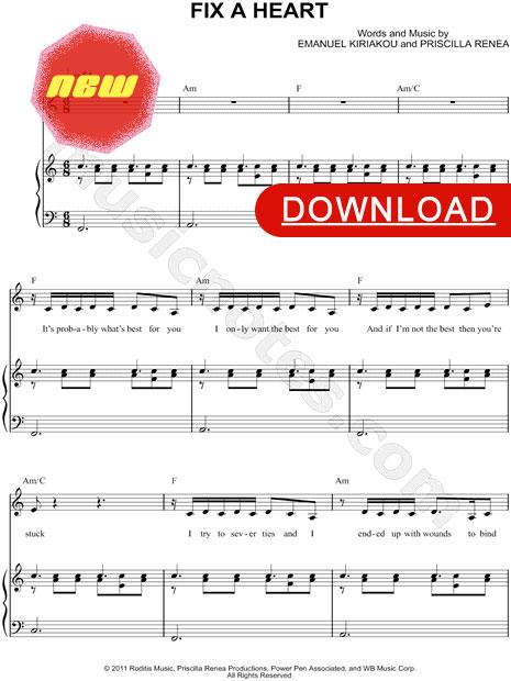 Demi Lovato, Fix a Heart Sheet Music, piano score, notation, download, music lesson, tutorial