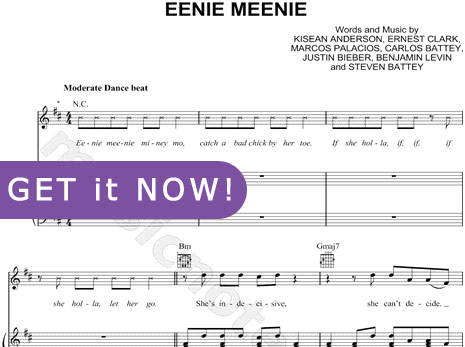 Justin Bieber, Eenie Meenie piano Sheet Music, download notatin, score