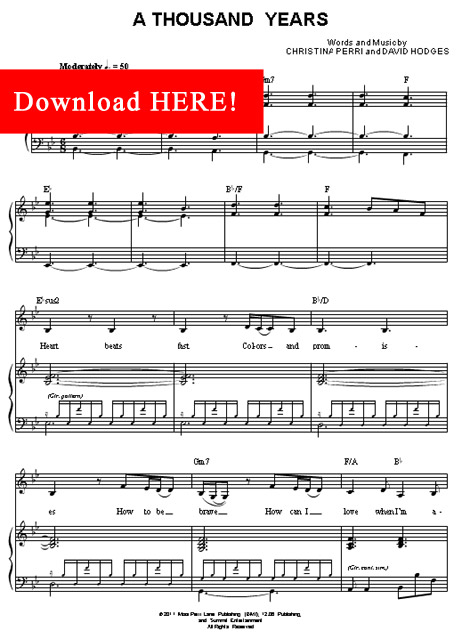 christina perri, a thousand years sheet music, piano notation, score, download, how to play, learn to play