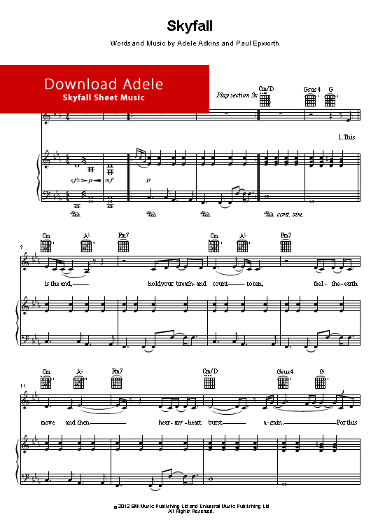adele, skyfall piano sheet music, download music notes, score, free sheet music