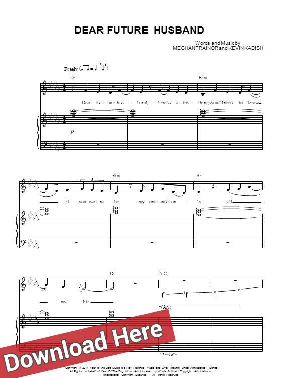 meghan trainor, dear future husband, sheet music, piano notes, score, chords