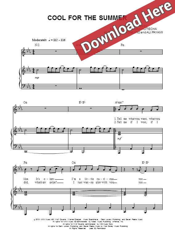demi lovato, cool for the summer, sheet music, piano, notes, score, download, play