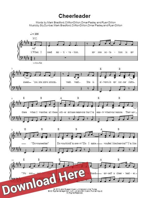 omi, cheerleader, sheet music, piano, notes, score, chords