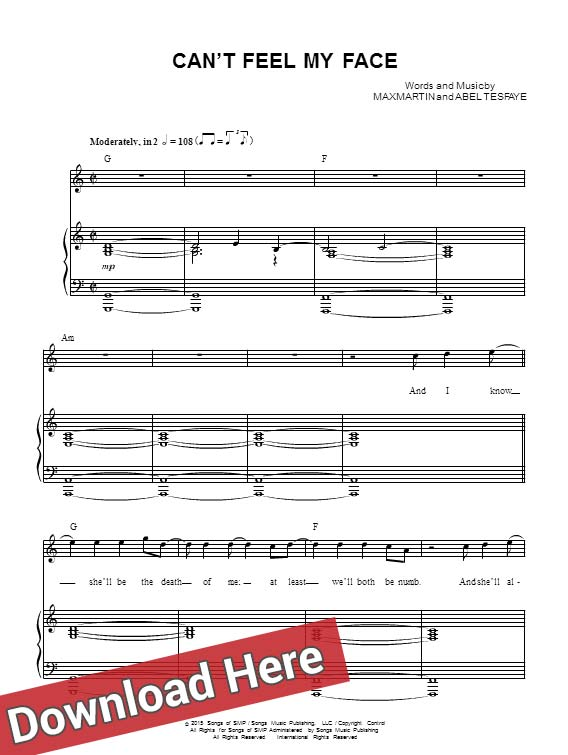 the weeknd, can't feel my face, sheet music, piano notes, score, chord, download, free