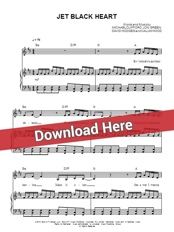 5 seconds of summer, jet black heart, sheet music, piano, notes, score, chords, download, how to play, guitar, tabs, klavier, partition
