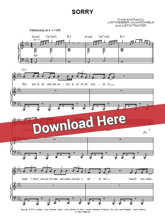 justin bieber, sorry, sheet music, piano notes, score, chords, download, how to play, klavier, noten, partition, guitar, tabs