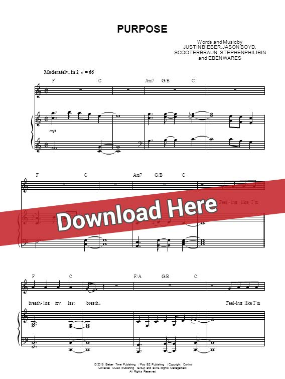 justin bieber, purpose, sheet music, piano notes, score, chords, download, keyboard, guitar, tabs, bass, klavier noten, partition